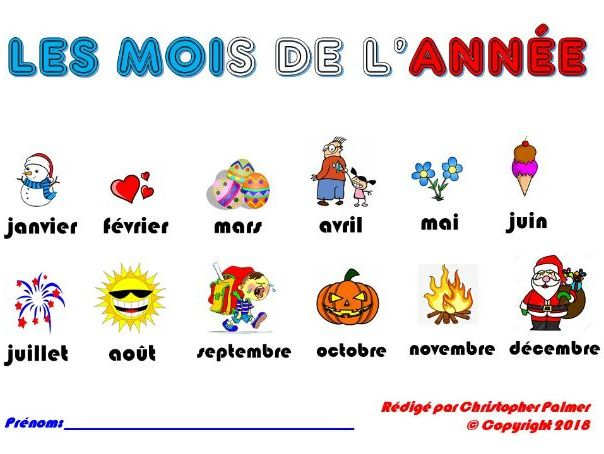 Primary French: Months of the year