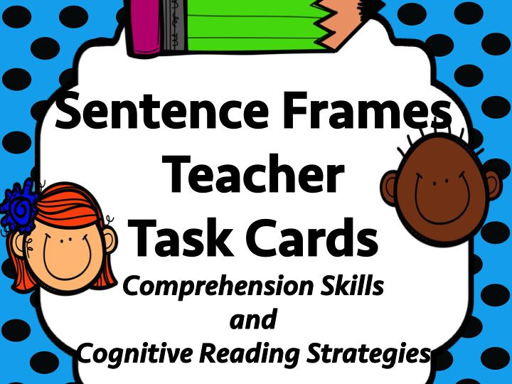 Sentence Frames Set of Teacher Task Cards with Prompts - Reading Strategies -        TOP SELLER
