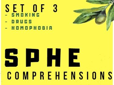 (Set of 3) PSHE comprehension passages - SMOKING/DRUGS/HOMOPHOBIA