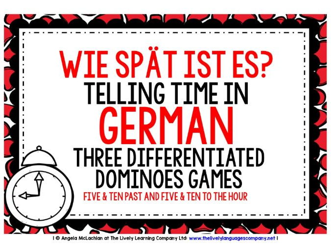 GERMAN TELLING TIME (2) - THREE DIFFERENTIATED DOMINOES GAMES