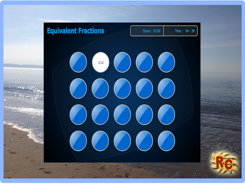 Easy Equivalent Fractions Match Game (interactive)