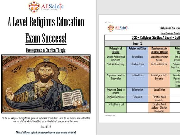 Religious Education - OCR - Developments in Christian Thought - Year One Revision Work Booklet!