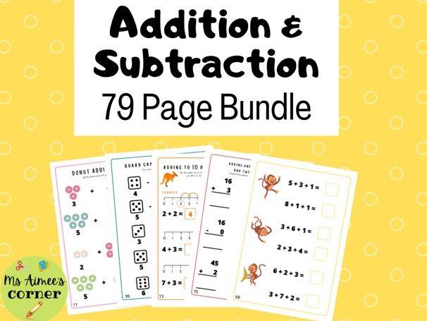 Addition and Subtraction Worksheet Bundle