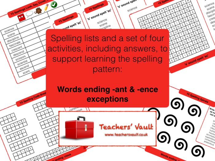 Words ending -ance, -ant, -ence & -ent exceptions