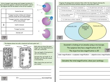 Biology Revision Cards Paper 1  AQA (9-1)  Trilogy with Answers
