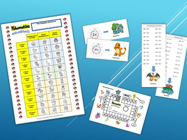 Pokemon Times Table Tracker and Assessment Sheets