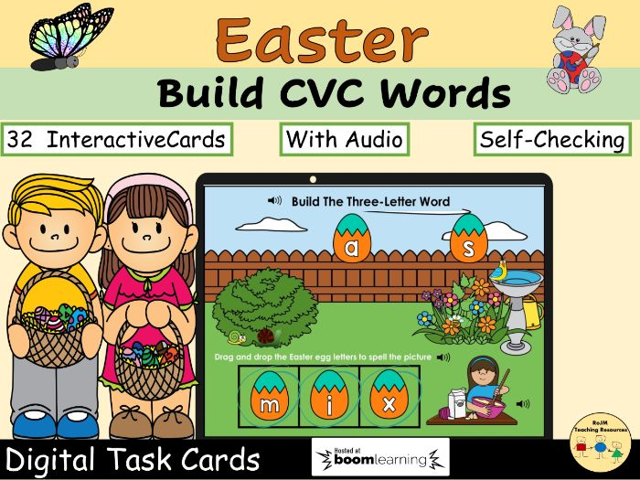 CVC Words Mixed Build Words Easter Eggs Spring Phonics  Set 1 BOOM Cards™
