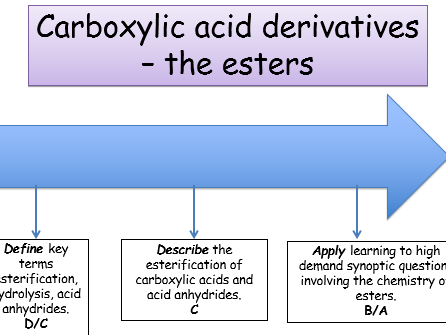 KS5, Module 6: Carboxylic acid derivatives - Esters (teacher power point & student workbook)