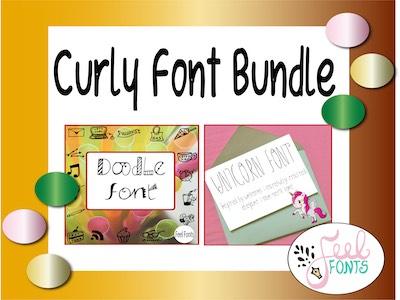 Curly Font Bundle, Font Bundle, B&W fonts