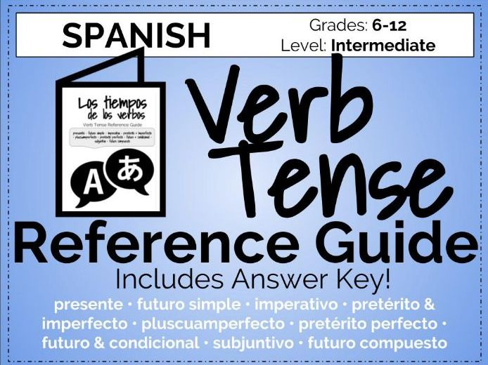 Spanish Verb Tense Reference Guide Booklet