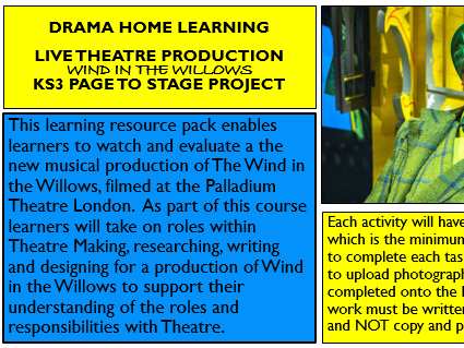 Drama KS3 Home Learning Pack - Wind In The Willows Page to Stage 2019 production