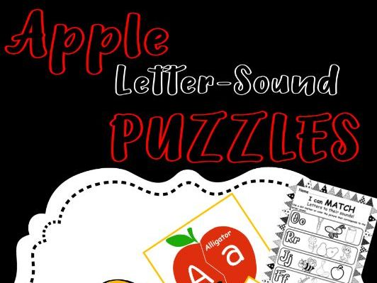 Apple Letter-Sound Puzzles and Printables Pre-K, Kindergarten, Preschool, PreK