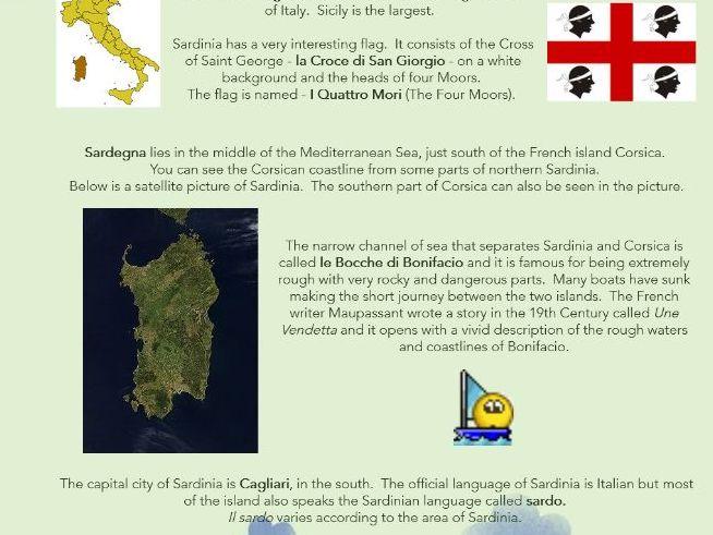 The Italian Island of Sardinia - worksheets + web page