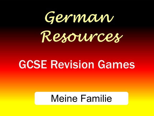 German GCSE - Revision Games - Cluedo - Meine Familie
