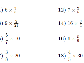 Multiplying fractions and whole numbers worksheet (with solutions)