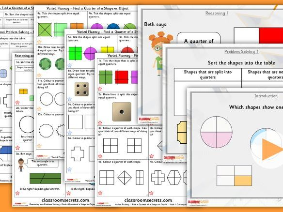 Year 1 Find a Quarter of a Shape or Object Summer Block 2 Lesson Pack