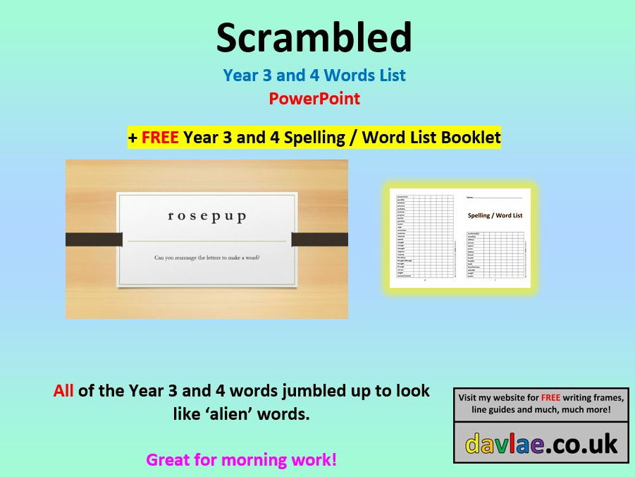 Scrambled Year 3 and 4 Word List PowerPoint (+ FREE YEAR 3 AND 4 SPELLING / WORD LIST BOOKLET)