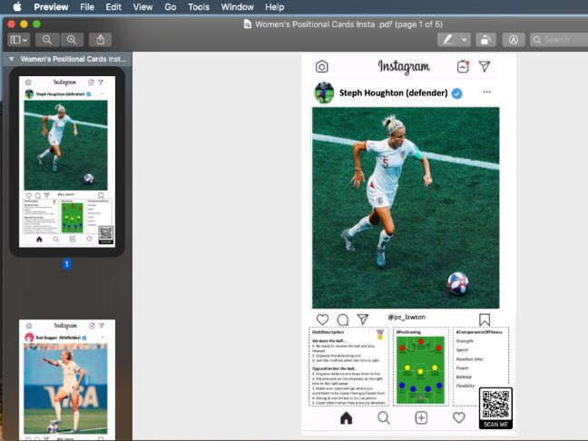 Football Positional Cards Instagram Style