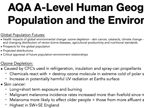 AQA A Level Geography: Population and the Environment - Global Population Futures