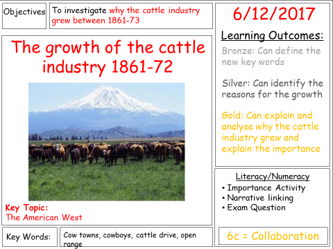 GCSE 9-1 American West - The growth of the cattle industry 1861-72