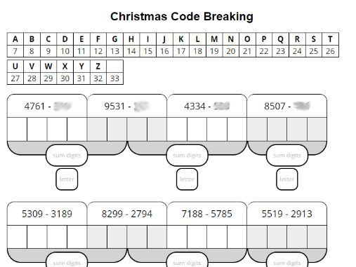 Christmas Calculation (M/D/A/S) Code-Breaking Collection (KS2/KS3)