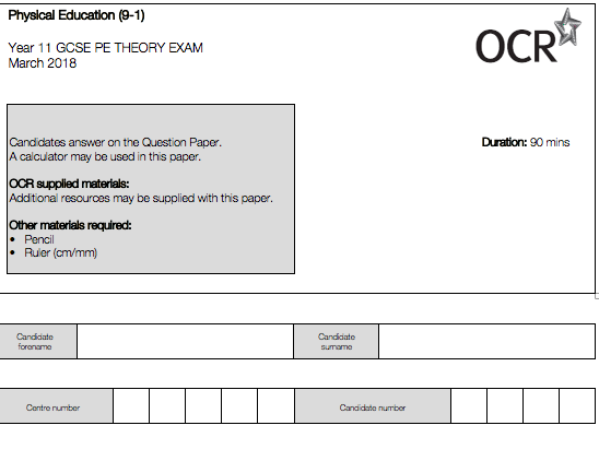 OCR PE from (2016) Year 11 Mock Exam Paper/ Question Level Analysis Sheet / RAG Spreadsheet
