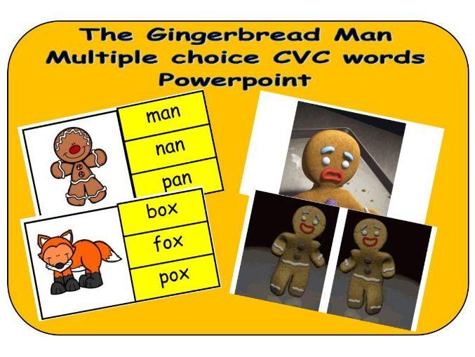 The Gingerbread Man - mulitiple choice CVC words - Powerpoint