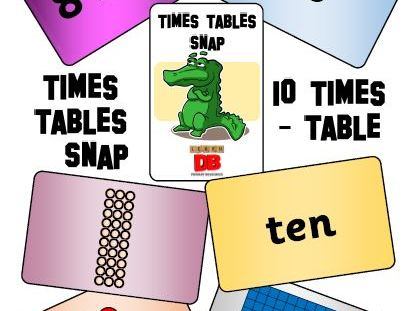 Times Tables Snap cards - 10 x table pack