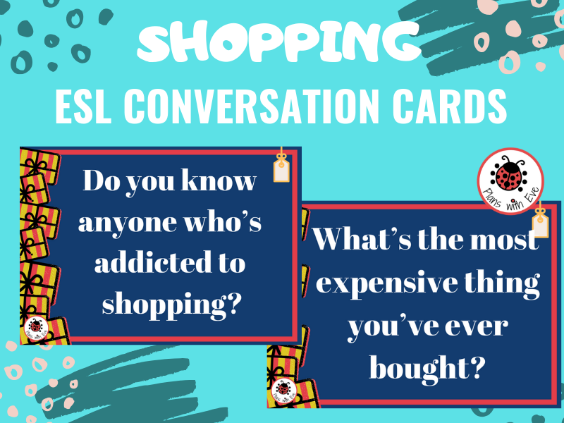 ESL Conversation: SHOPPING! Fun and interesting conversation cards!
