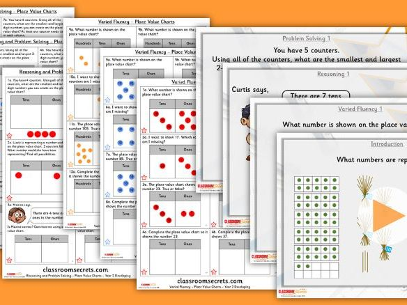 Year 2 Place Value Charts Autumn Block 1 Step 5 Lesson Pack