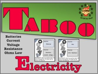 Current Electricity  Taboo Cards 3 for KS3