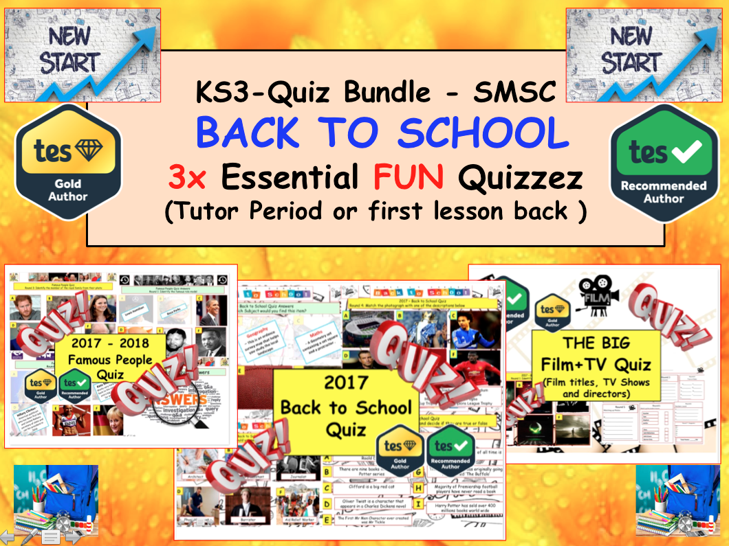 Back to School 3xQuiz Bundle - Tutor time: Transition / Film and TV / Famous People