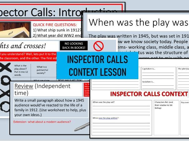 Inspector Calls Context Full Lesson