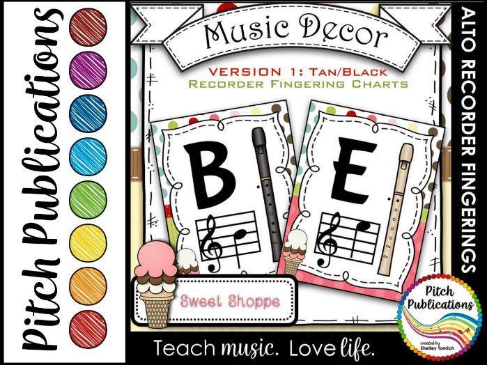 Alto Recorder Fingering Chart Posters v1 Black/Tan- Music Decor Sweet Shoppe