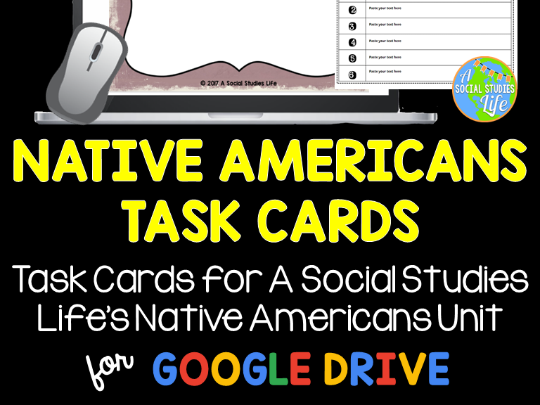 Native Americans Task Cards and Recording Sheet