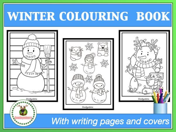 Winter Colouring Book With Writing Pages