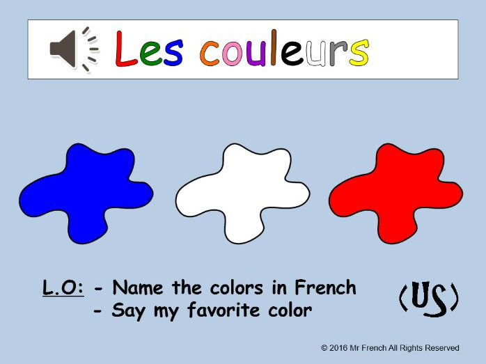 Les couleurs (French colours) 3 lessons! US version 2nd Grade