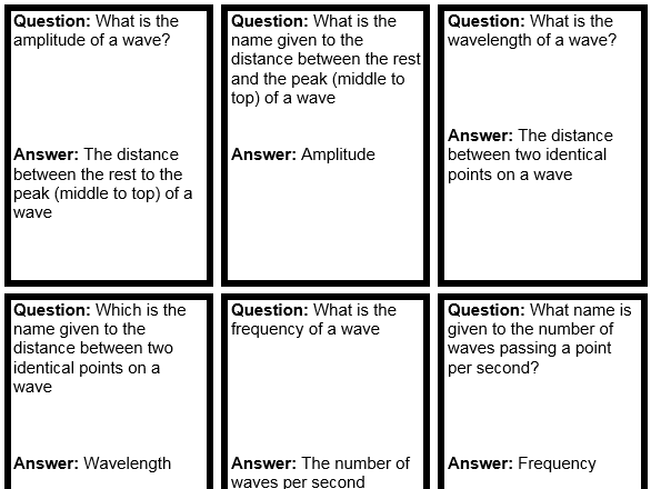 P6 Waves GCSE 9-1 AQA trilogy quiz quiz trade cards (can be used with any exam board)