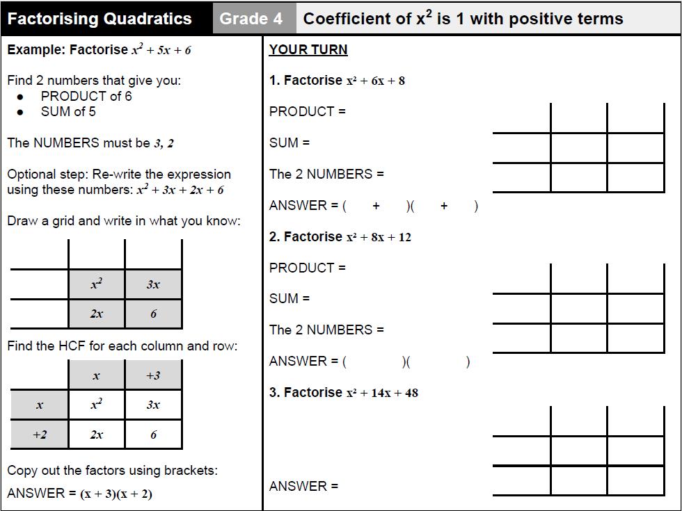 Factorising quadratics worksheet with examples - Grade 4- 6 (GCSE Maths 9-1)