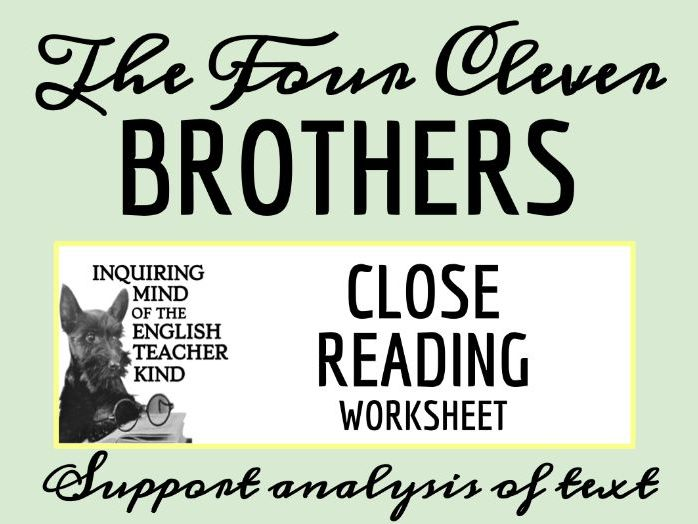 """Grimms' Fairy Tale """"The Four Clever Brothers"""" Close Reading"""