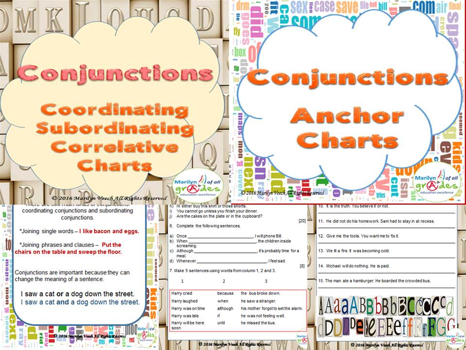 Conjunctions  - Coordinating/ Subordinating/ Correlative - Conjunction Posters