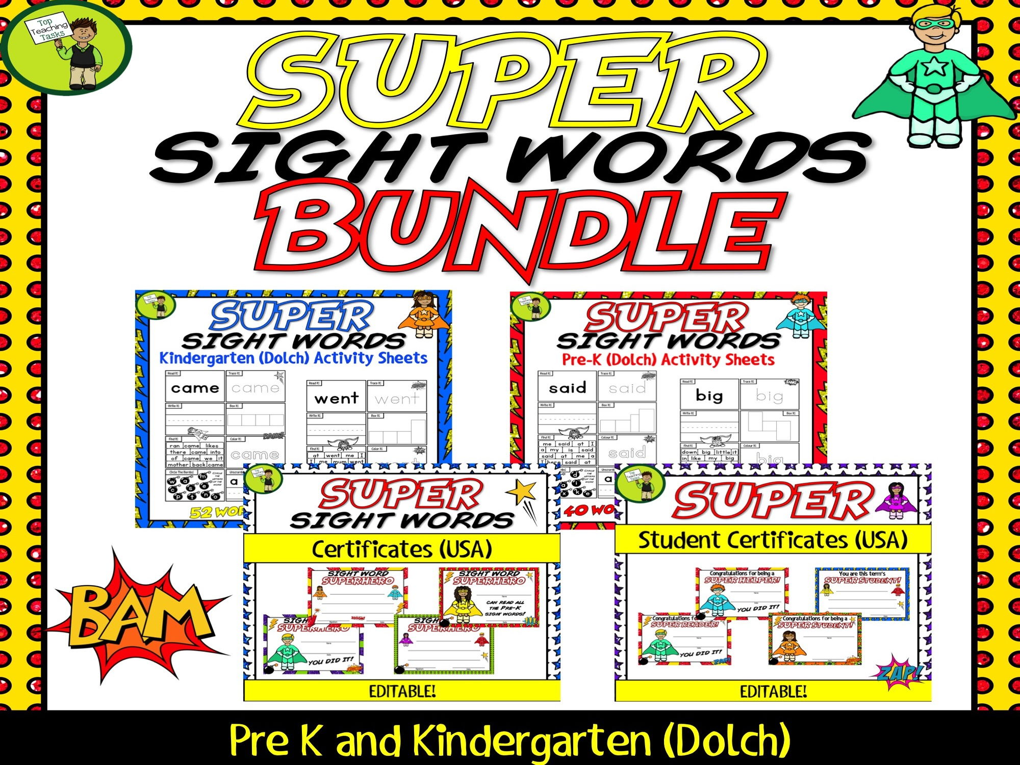 Super Sight Words Bundle (Dolch) - PreK-Kindergarten