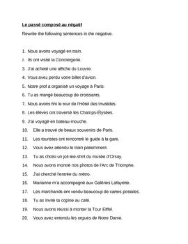 Passé Composé au négatif French worksheet