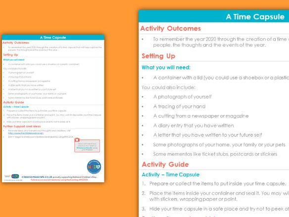 FREE PSHE Time Capsule Activity National Children's Day