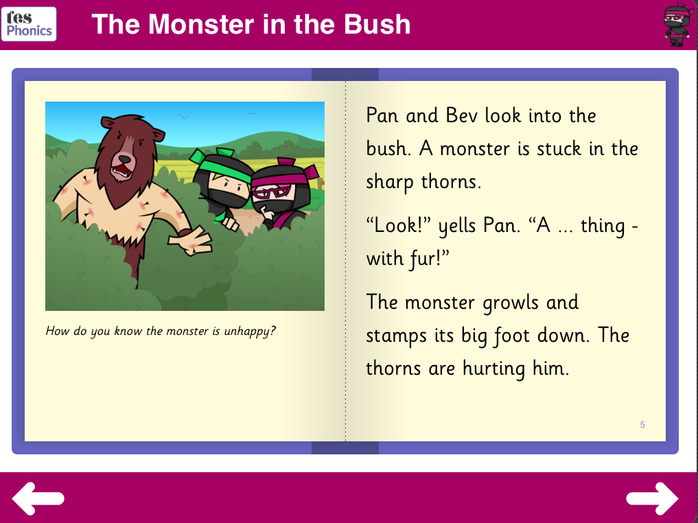 The Monster in the Bush - Interactive Reading Book - Phase 3