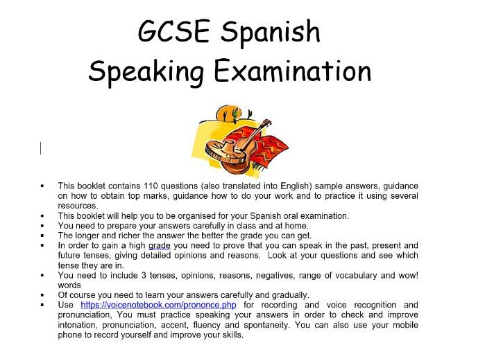 Spanish GCSE Speaking Booklet 9-1