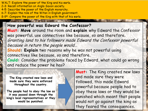 Kings and Earls comparison (Edexcel 9-1: Anglo Saxon and Norman England)