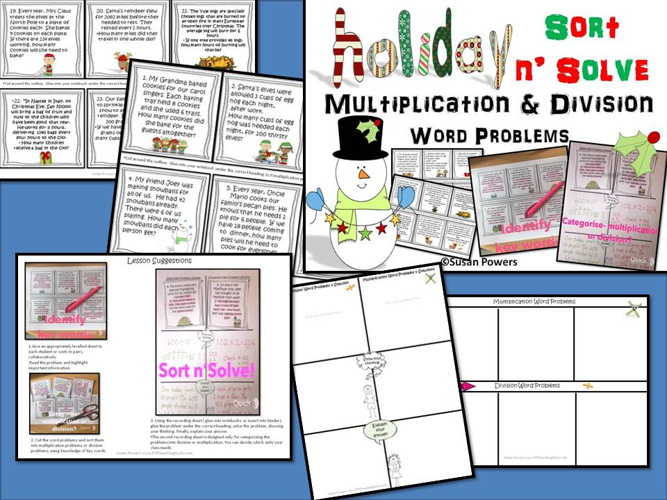 Christmas Sort n' Solve Activity  Multiplication & Division Word Problems