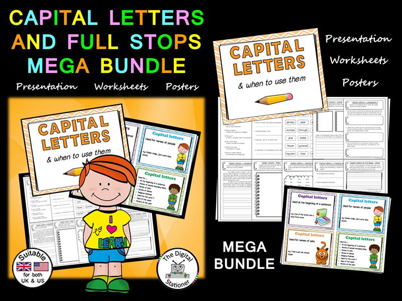 Capital Letters and Full Stops MEGA BUNDLE - Literacy posters, presentation, worksheets