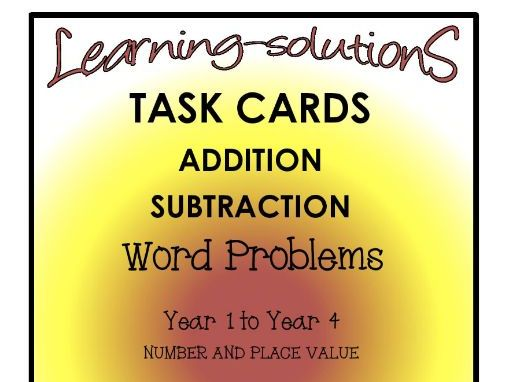 ADDITION/SUBTRACTION ALGORITHM-200 TASK CARDS -DIFFERENTIATED-GRADES 1-4